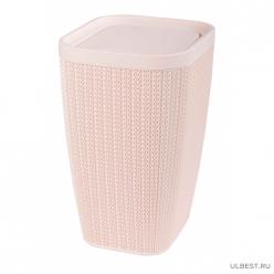 Контейнер для мусора 10л Вязаное плетение (бежевый) (уп.3) М7489