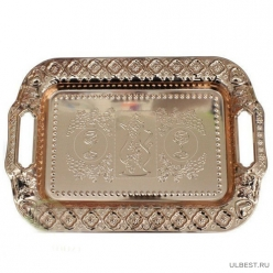 Поднос металлический с ручками, цвет-золото и бронза, 21 х 30 см. арт.RA-6010