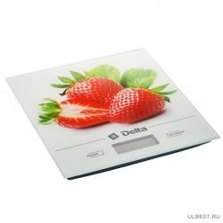 Весы настольные электронные DELTA KCE-29 Клубника : 5 кг, стекло.LCD-дисплей, Автообнуление/автоо