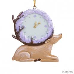 Новогоднее подвесное украшение Часы-Олень из полирезины / 7х7х1см арт.80304