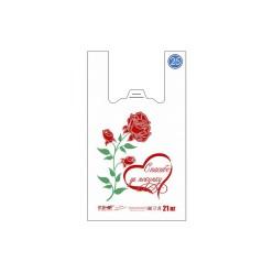 Пакет майка ПНД 26+14х48, 12 мкм/розовый/  РОЗА (100шт)