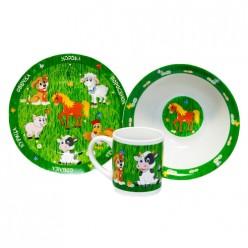 Набор Домашние животные 3пред (тарелка 19см, миска 18см, кружка 240мл) в под. уп. арт. MFK04005