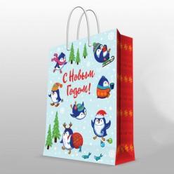 Бумажный пакет Пингвины, с ламин,ширина основания 26см, 140г/м2, 26х32,4х12,7см арт.81080