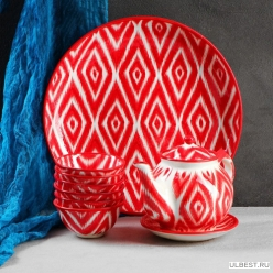 Набор чайный атлас , 9 предметов (чайник-0,8л,пиалы-0,5/0,3) арт.3554724 Узбекистан
