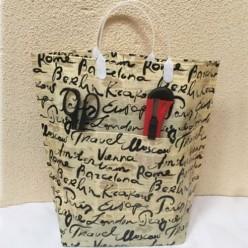 Пакет с пластмассовыми ручками 37+10х37+10 ламин многосл с карманами(х50) (Подписи городов) ПЛР18503