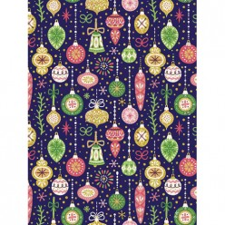 Бумага оберточная Елочные игрушки в рулонах,с полноцв рисунком, плотность 90г/м2 / 100*70, арт.81730