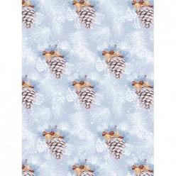 Бумага оберточная Иней на шишках в рулонах,с полноцв рисунком, плотность 90г/м2 / 100*70, арт.81757