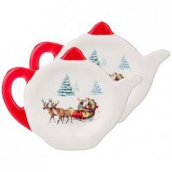 Набор подставок для чайных пакетиков из 2 шт. коллекция  новогодняя сказка 11,8*9,1*1,5 см 230-313