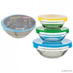 Набор из 3 стеклянных мисок с крышками INSALATO (360/510/920мл) арт.007178