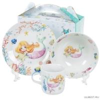 Набор детский 3пр Русалка (тарелка 17,5см, салатник 15см, кружка 230мл) под/уп C653# DANIKS (35070