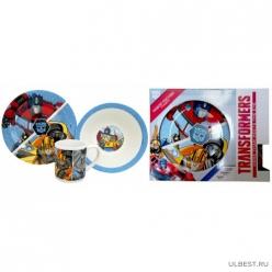 Набор Transformers 3 пр.: кружка 240 мл, миска 18 см, тарелка 19 см в подар упаковке. арт.TRS3-2