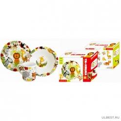 Набор Джунгли 3 предмета: кружка 240 мл, миска 18 см, тарелка 19 см в подар упаковке арт.MFKS3-2
