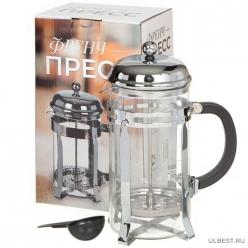 Чайник завар 1000мл (френч-пресс) стекло, нерж.сталь Серебро I.K (329894)
