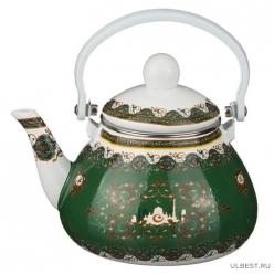 Чайник эмалированный с фильтром из нжс 1,3 л 934-333 Зеленый