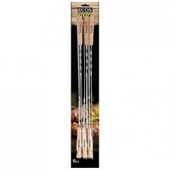 Шампуры с деревянными ручками ECOS 23021D (набор из 6 штук), нерж. арт.999629