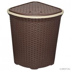 Корзина для белья 60л с крышкой с декором Ротанг угловая (коричневый) 235001 Виолет