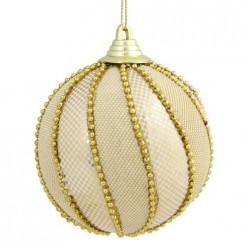 Новогоднее подвесное украшение Золотистый шар,украшенный бисером из пенополистирола,8см, арт.78634