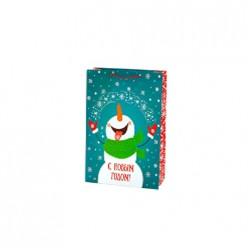 Бумажный пакет Снеговик, с ламин,ширина основания 33см, 140г/м2, 33х45,7х12,7см арт.81095