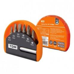 Набор бит №1,  6 бит: SL, PH, PZ, удлинитель CR-V сталь, в пласт.держателе, «Алмаз» TDM (SQ1019-0101