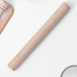 Скалка деревянная 24х3 см, прямая арт.3943155 Доляна
