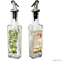 Бутылка с мет. дозатором для оливкового масла с рецептом пригот. со специями, 500 мл, 626-400
