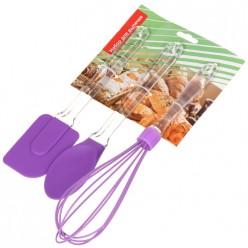 Набор д/выпечки 3пр силикон фиолетовый венчик/лопатка/ложка Y4-3042 I.K (341990)