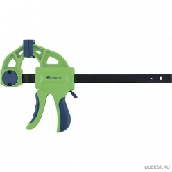 Струбцина F-образная, быстрозаж, 150*70*360 мм,пласт.корпус,фиксатор,двухк.рук.// СИБРТЕХ арт.20563