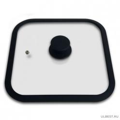 Крышка стеклянная с силиконовым ободком, серия QUADRATO,26*26 см диа,сил ручка,тм Mallony арт.003666