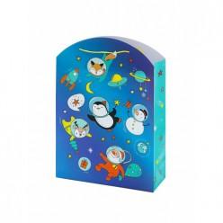 Бумажный пакет Улетный Новый Год,с ламин, ширина основания 33см, 140г/м2, 33х45,7х12,7см арт.81100