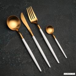 Набор столовых приборов 4 предмета Magistro Фолк золото, белая ручка арт.2941974
