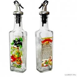 Бутылка с мет. дозатором для оливкового масла с рецептом пригот.с чесноком, 500 мл, стекло 626-402