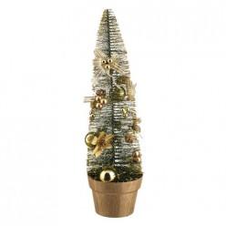 Елочка декоративная золотая с украшениями, в пвх коробке, высота = 45 см 160-127