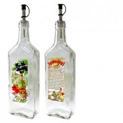 Бутылка с пл. дозатором для оливкового масла с рецептом приготовления с чесноком, 500 мл, 626-410