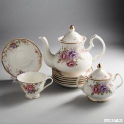 МР032P/14 Набор чайный 14 пр, Лоренс зав.чайн 900мл, 6 чашек 240мл,сахарница (3)