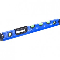 Уровень строит.КОБАЛЬТ 600 мм,профиль 28 x 60 мм,5 глазков, 1 ручка,V-паз, точность 1,0 мм (243-332)