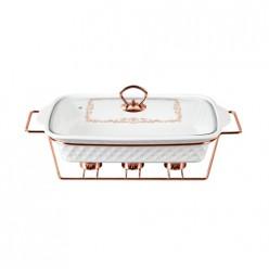 LR12-04 ROSE GOLD мармит керамический LARA 2.9л 40,9см, 3 свечи, сверхбелый фарфор, стекл. крышка