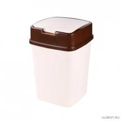 Контейнер для мусора 8л квадратный (сл.кость) (уп.5) М7196