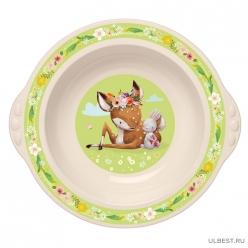 Тарелка детская глубокая с зеленым декором (бежевый) арт.4313162 Бытпласт