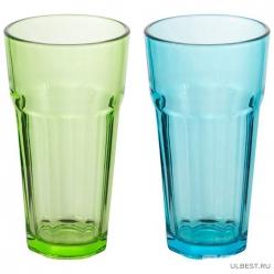 Стакан стеклянный, 355 мл (цвета в ассортименте: бирюзовый/зеленый) арт.007278
