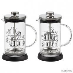 Чайник/кофейник (кофе-пресс) MOMENTO 350 мл из боросиликат. стекла с надписью на корпусе арт.007530