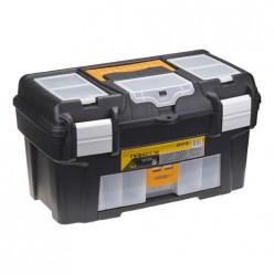 Ящик для инструментов ГЕФЕСТ 18' металл замки (с консолью и секциями) черный с желтым М 2940