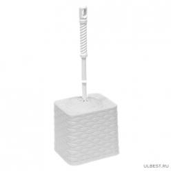 Набор для WC (ерш+подставка) квадратный с декором Ротанг (белый) 131506 Виолет