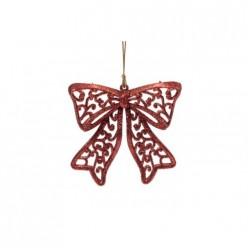 Новогоднее подвесное елочное украшение Бантик красный из полипропилена / 8,5х9см арт.75115
