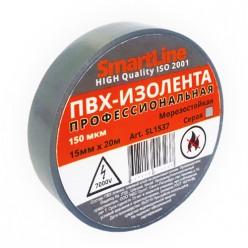 Изоляционная лента ПВХ 15мм*20м 150мкм серая Smartline инд.уп. арт.SL1537 /200/5