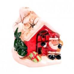 Сувенир новогодний 7х7х8см светящийся, Домик с Дед Морозом 1 161191