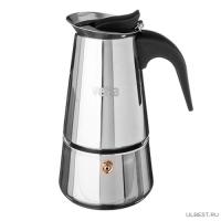 Кофеварка гейзерная, 4 чашки, нержавеющая сталь, нейлоновая ручка (850-130)