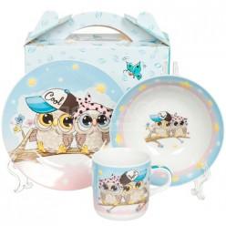 Набор детский 3пр Совы (тарелка 18см, салатник 15см, кружка 230мл) под/уп C557# DANIKS (304617)