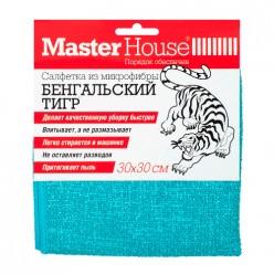 Салфетка из микрофибры Бенгальский тигр 30x30см голубая (75034) Мастер Хаус