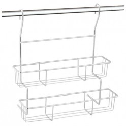 Полка двухъярусная навесная для кухни FORTUNA PR-06, 28,5*14*30,5 см арт.008439