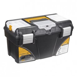 Ящик для инструментов ГЕФЕСТ 18' металл замки (с коробками) черный с желтым М2942